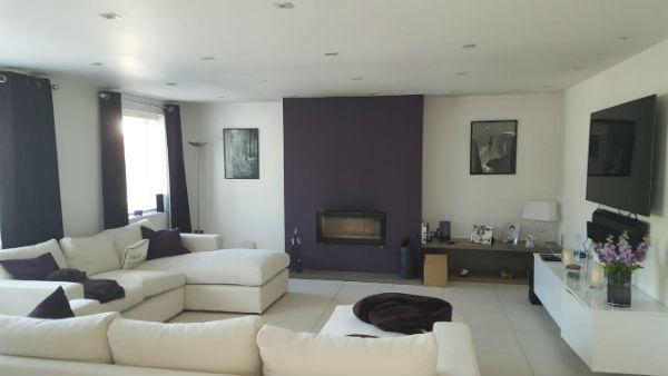 Purple and cream living room Essex